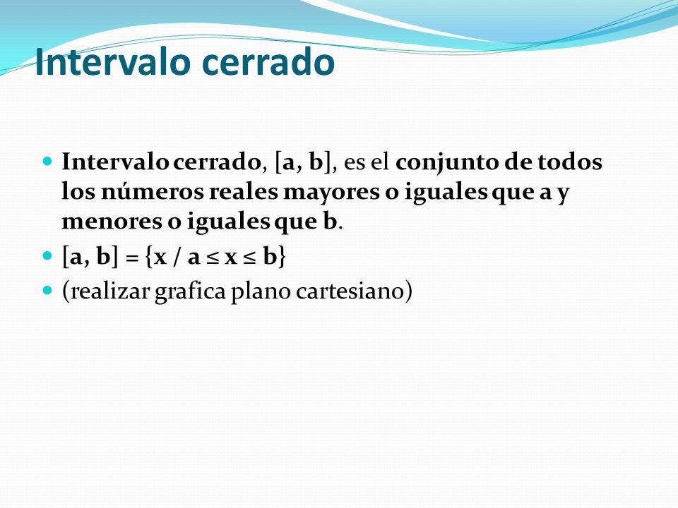 Intervalo cerrado Intervalo cerrado, [a, b], es el conjunto de todos los números reales mayores o iguales que a y menores o iguales que b.